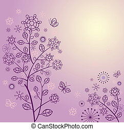 Beautiful spring card with violet lacy tree