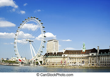 Beautiful Spring Day in London - London Eye and River Thames...
