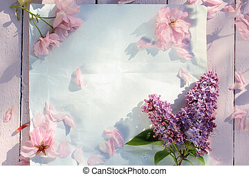 Beautiful, Spring floral background with Japanese cherry blooming flowers
