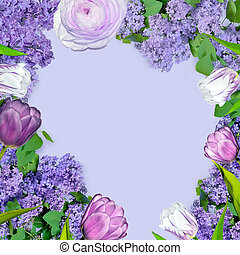 Beautiful spring floral frame with lilac flowers and purple tulips