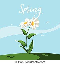 beautiful spring flower in grass nature scene