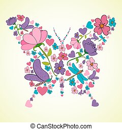 Beautiful spring flowers butterfly shape - Colorful flower...