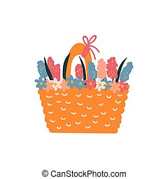 Beautiful Spring Flowers in Basket Vector Illustration