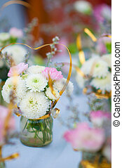 Beautiful spring flowers in glass