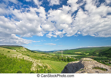 Beautiful spring landscape, view from the mountain.