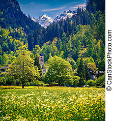 Beautiful spring landscape with church