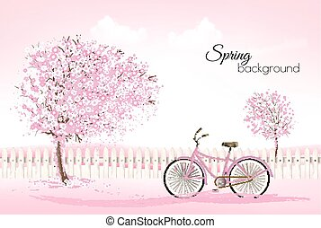 Beautiful spring nature background with a blossoming trees and bike. Vector.