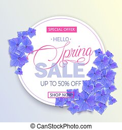 Beautiful Spring sale banner with blue hydrangea flowers. Vector