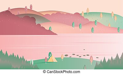 Beautiful spring scenery landscape, camping tent on small hill with lake and mountain, pink and green tones
