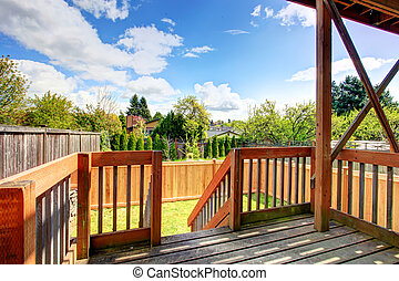 Beautiful spring view from backyard deck