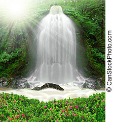 waterfall  - beautiful spring waterfall