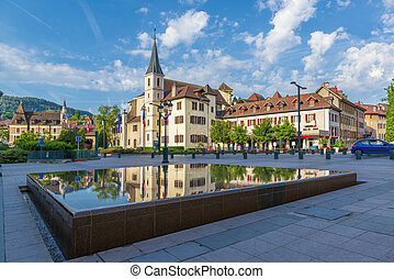 Beautiful square in the Annecy town.