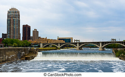 Beautiful St Anthony Falls in Downtown Minneapolis Minnesota