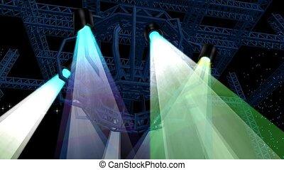 Beautiful stage lighting,spotlights shine & rock performances in Nightclub.