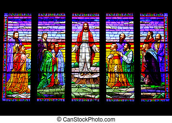 Beautiful Stained Glass - A stained glass window depicting...