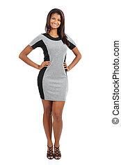 Beautiful standing african american model woman posing...