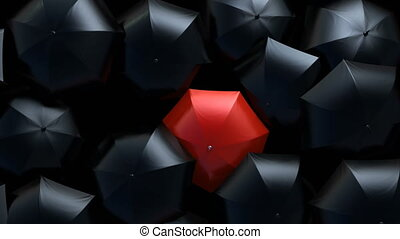 Beautiful Standing Out from the Crowd Concept, Red Umbrella Wades Through a Flow of Black Umbrellas in the Thunderstorm. 3d Animation, 4K