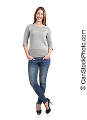 Beautiful standing woman model posing
