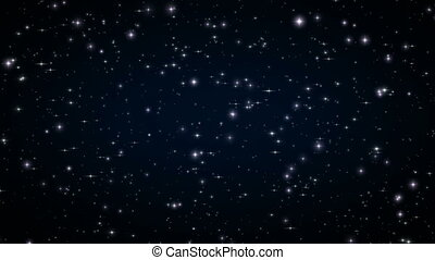 Beautiful Stars in Dark Deep Space. Looped Animation. Black...