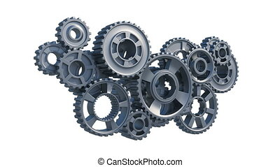 Beautiful Steel Gears Flying to the Center and Assembling...