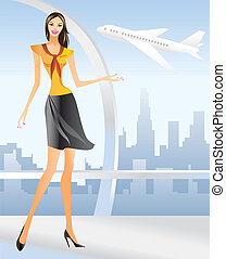 beautiful Stewardess at the airport in Los angeles - vector illustration