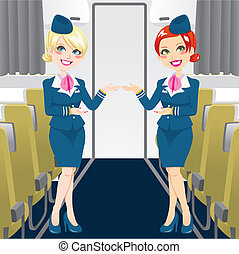 Beautiful Stewardess - Two beautiful stewardess in blue...