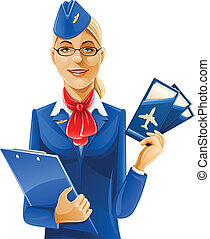 beautiful stewardess with air ticket vector illustration ...