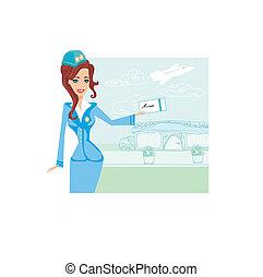 Beautiful stewardess with ticket