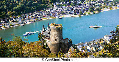 Beautiful St.Goarshausen town over Rhine river,Germany. -...