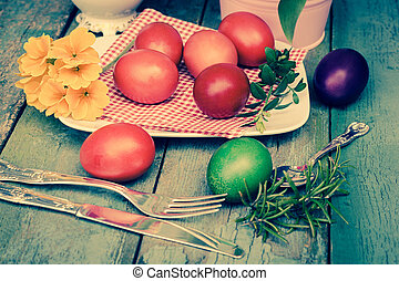 Beautiful still life with easter eggs