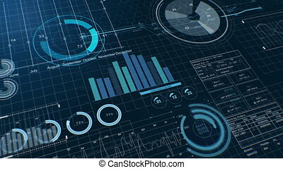 Beautiful Stock Market Charts Dark Blue Version. Financial Figures, Graphs and Diagrams Growing on Digital Display. Business Technology Concept Background. Useful for Presentations. 4k UHD 3840x2160.