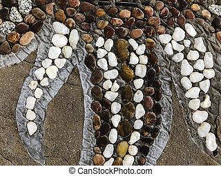 Beautiful stone pattern with drawings. Close up