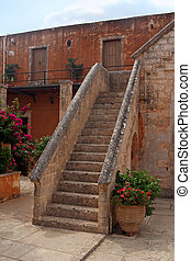 beautiful stone stairs - courtyard of Agia Triada Monastery- Cre
