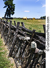 stone wall in a field near Upperville Virginia