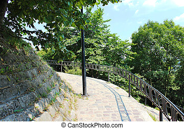 beautiful stony path in Lviv city