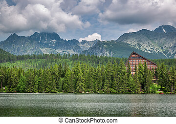 Beautiful Strbske Pleso and mountain lake in Slovakia