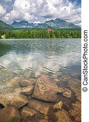 Beautiful Strbske Pleso and mountain lake in theTatra mountains