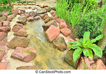 Beautiful stream in the garden