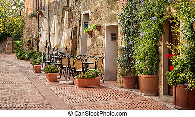 Beautiful street decorated with flowers, Italy