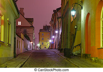 Beautiful street in Old Town of Warsaw, Poland
