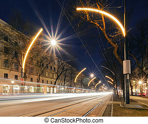 Beautiful street lights in central part of Vienna, Austria