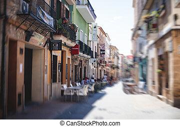 Beautiful street view of Denia, Marina Alta with harbor and skyline, Montgo mountain, beach and city, province of Alicante, Valencia, Spain