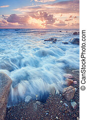 beautiful strong waves in the Mediterranean Sea