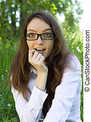 beautiful student girl in the park