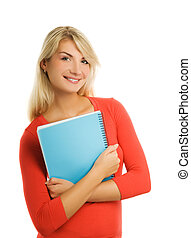 Beautiful student isolated on white background