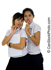 beautiful students with lollipops