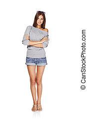 Beautiful stylish girl - Full length of young stylish slim ...