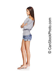 Beautiful stylish girl - Full length side view of young ...