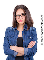 stylish girl in glasses with crossed hands