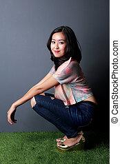 beautiful stylish woman posing